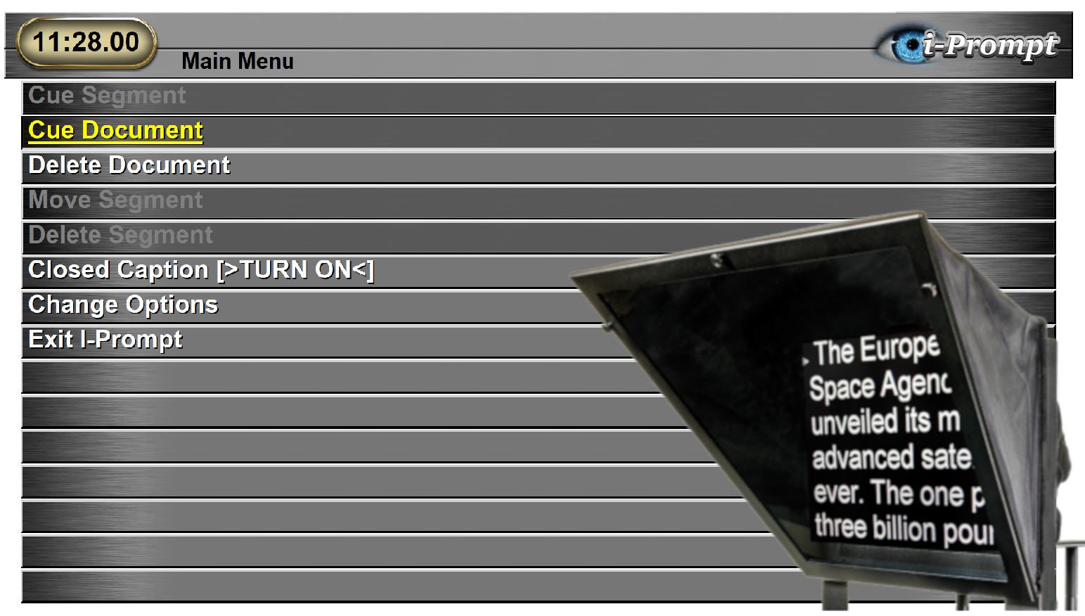 Teleprompter Menu